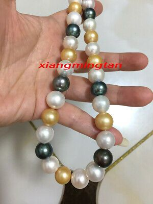 """AAAAA 18/""""10-11mm Natural real south sea perfect round WHITE pearl necklace 14K"""