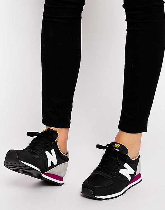 New Balance 420 Suede Mix Black & Yellow Trainers- just ordered these booom.