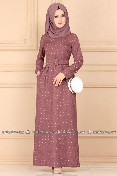 Modaselvim Elbise Puantiyeli Tesettur Elbise 9512w153 Gul Kurusu Elbise Elbiseler Elbise Modelleri