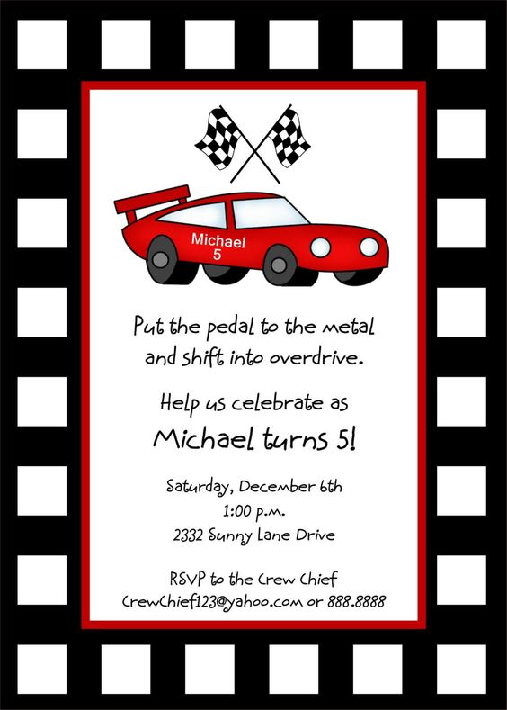 race car invitation template free car
