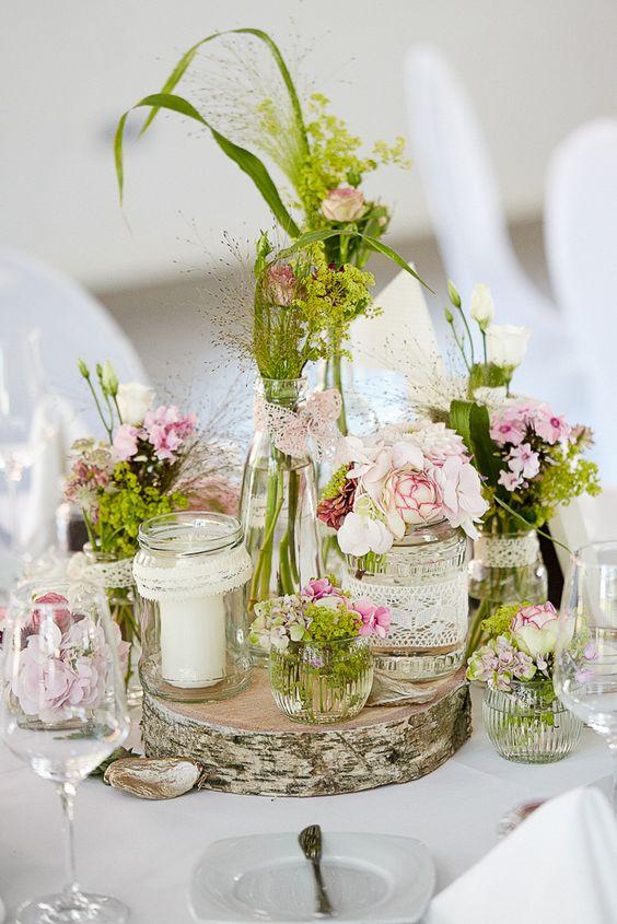 rustikale tischdekoration schnell selber machen wedding. Black Bedroom Furniture Sets. Home Design Ideas