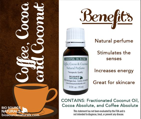 Coffee, Cocoa & Coconut Essential Oil Blend Created to stimulate the senses and increase energy by combining our favorite scents and flavors into a natural perfume, this blend contains fractionated coconut oil, cocoa absolute and coffee absolute. #aromatherapy #natural
