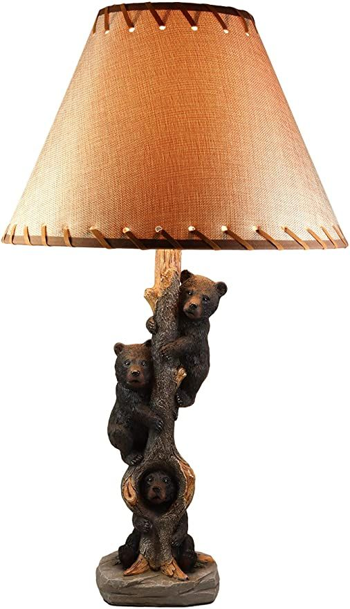 Ebros Three Forest Musketeers Whimsical Black Bear Cubs Climbing Tree Table Lamp Statue With Burlap Shade 24 High Wildlif In 2020 Lodge Decor Rustic Cabin Desktop Lamp