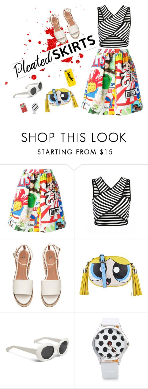 """""""PLEATED SKIRT"""" by natcatt ❤ liked on Polyvore featuring See by Chloé, Moschino, Casetify, stripes, PolkaDots, pleatedskirts and popart"""