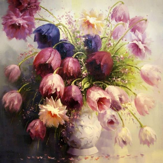 Image gallery most beautiful art flowers for Pretty flower paintings
