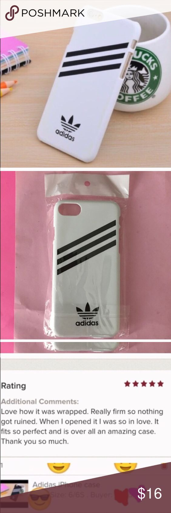 White adidas 7 📱case Cute white adidas hard case for iPhone 📱7 ,,,,Brand new.            2 available Adidas Accessories Phone Cases