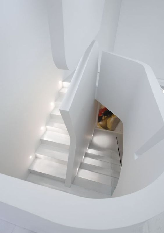 Fantastic Staircase Ideas in Futuristic Apartment Design and Remodel by A-cero Architects