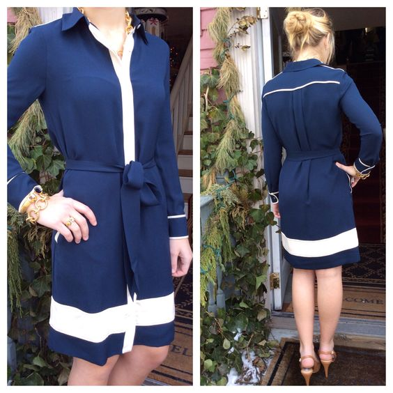 Dvf! Navy and cream effortless chic.