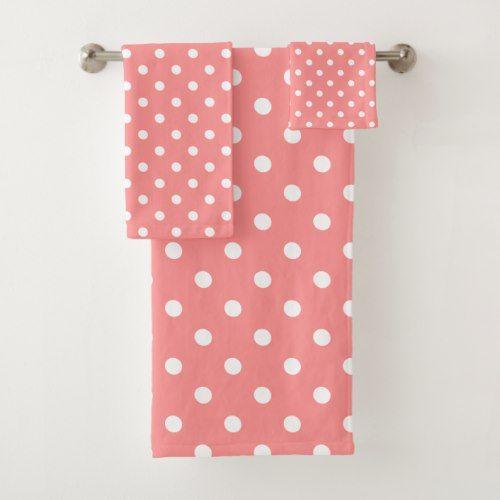 Pink Polka Dot Bath Towel Set Zazzle Com Pink Polka Dots
