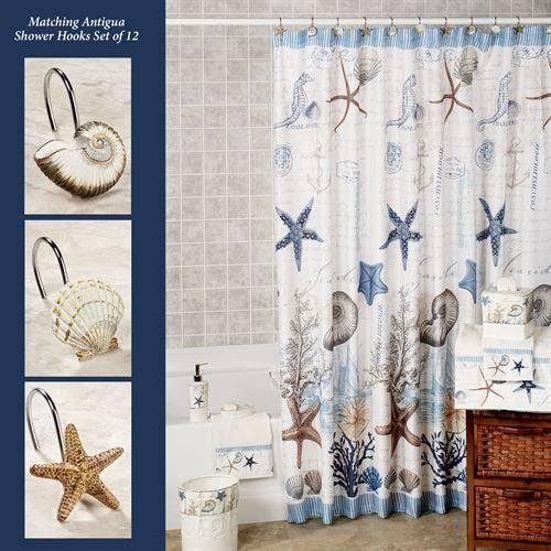 Antigua Starfish Coastal Shower Curtain Curtains Ivory Curtains