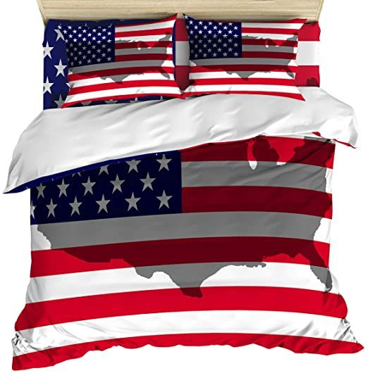 Luxury 4 Piece Bedding Set King Size American Flag Map Silhouette Duvet Comforter Quilt Cover Set With Bed In 2020 Quilt Cover Sets Duvet Comforters King Bedding Sets