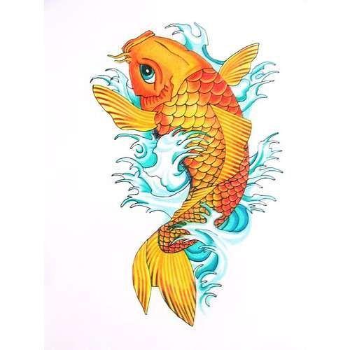 Cute yellow koi fish with water splashes tattoo design for Yellow koi fish