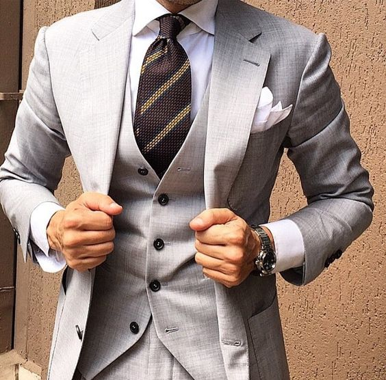Striped tie with grey suit