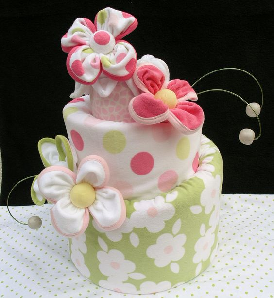 Diaper cake pink and green baby shower floral diaper for Pink diaper bouquet