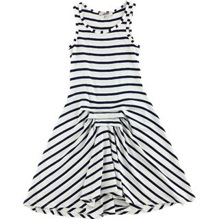@Shannon Kendall and Toad  Junior Gaultier soft jersey dress in navy and white stripes has tucks at the waist-line creating an assymetrical hem-line.