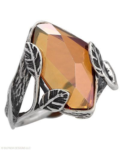 Be sweet as honey wearing this Amber Swarovski™ Crystal and Sterling Silver Ring. Whole sizes 5-11.
