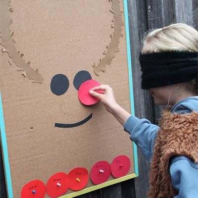 Pin the Nose on the Reindeer {Christmas Party Games}: