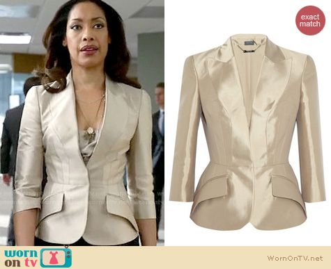 Jessica's champagne blazer on Suits. Outfit Details: http://wornontv.net/19205
