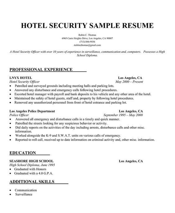 Medical Librarian Resume Sample Resumecompanion Com: Hotel Security Resume Sample (http://resumecompanion.com