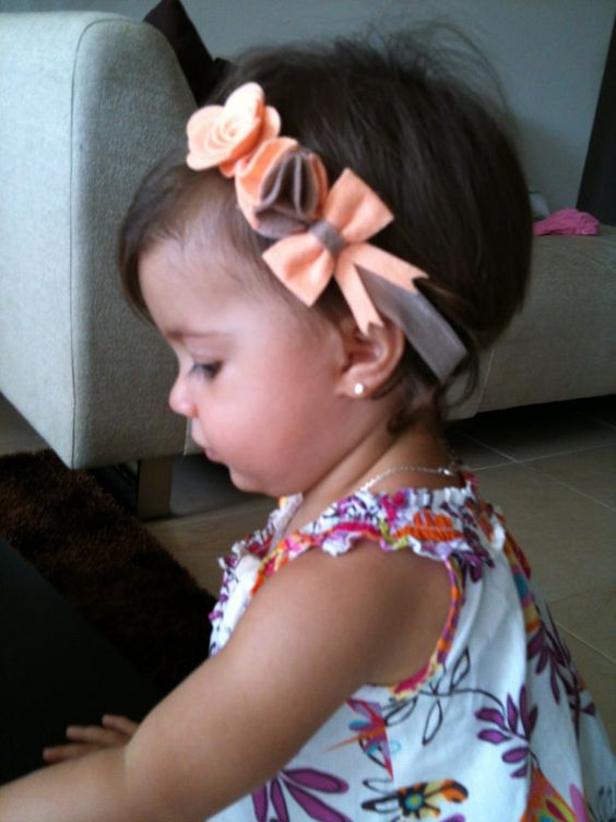 Felt Flower pompom and bow headband in peach by chicsweetbabytique