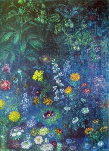Flowers at night - Kateryna Bilokur