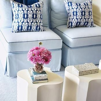 Powder Blue Slipper Chairs with Dark Blue Piping