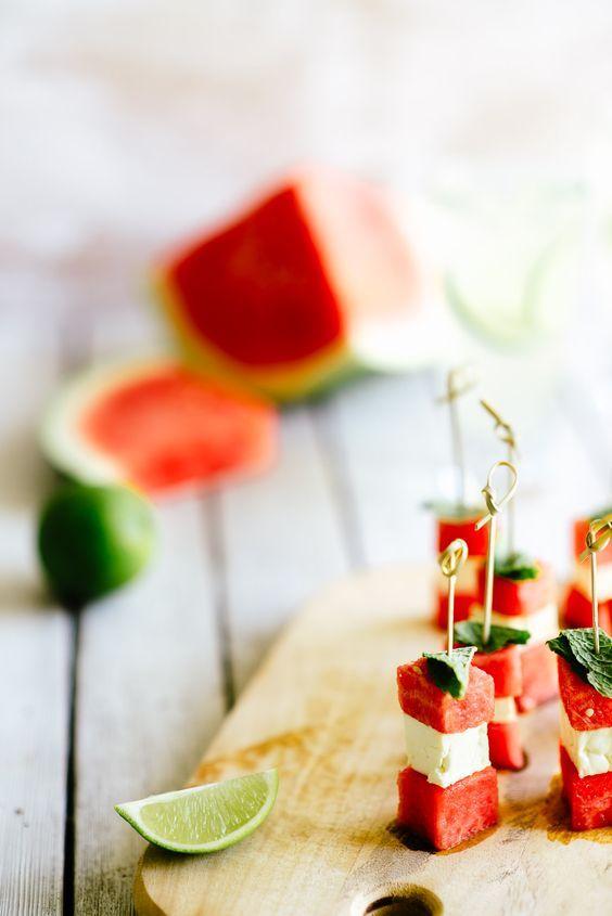 "Watermelon, Mozzarella ""Bites"" with Mint"