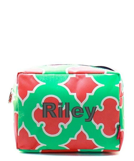 "Personalized Coral Moroccan Diamond 9"" Cosmetic Bag Makeup Case - Navy & Mint"