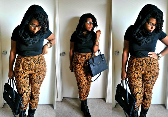 Tribal print pants and a head scarf, great for windy day