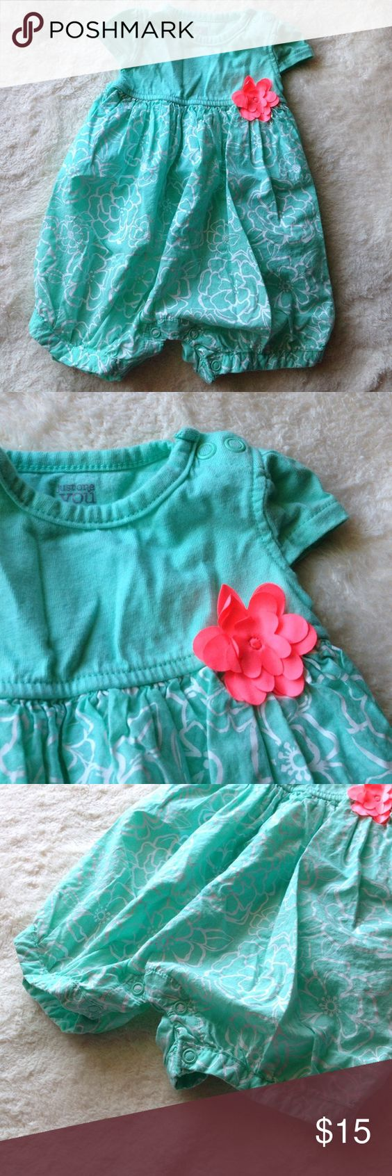 Mint outfit with coral flower So cute outfit. Worn once. No stains or holes. Carter's One Pieces