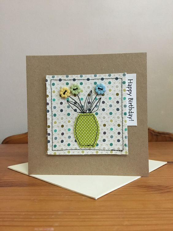 Handmade sewn thank you card made using Moda fabrics and buttons
