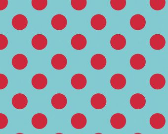 18 x 20 tecido laminado - pontos vermelhos no Aqua (aka oleado, vinil, tecido revestido)
