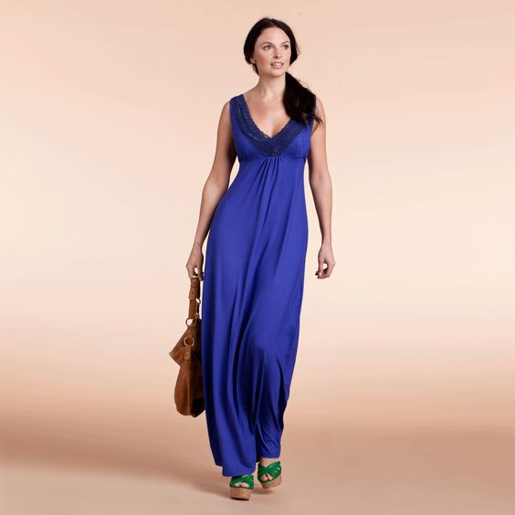 LOVE MILK SALLY nursing dress in Royal blue organic bamboo jersey with lace detail £56