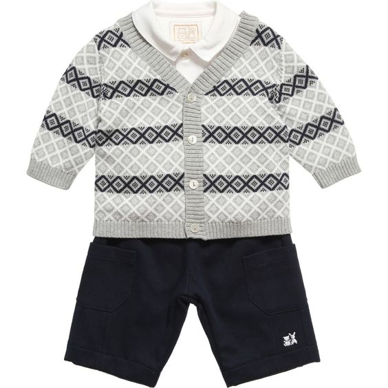 Emile et Rose Grey and Navy Blue 'Davis' Cardigan, Bodyvest and Trousers Set at Childrensalon.com