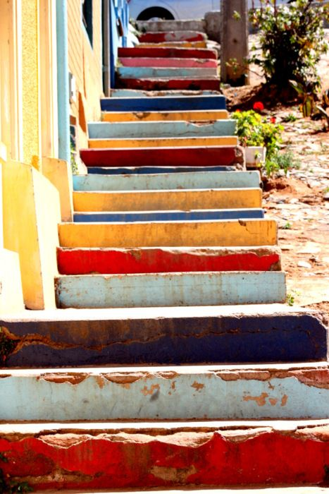 I've always wanted multi-colored stairs somewhere in my future house
