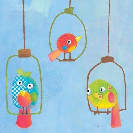 Tableau enfant carr 3 oiseaux lilipinso tableaux - Tableau chambre enfant ...