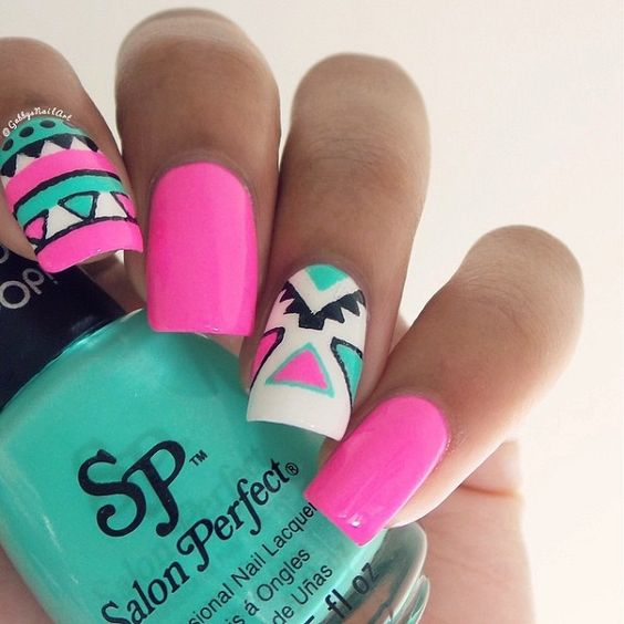 65 Colorful Tribal Nails Make You Look Unique  <3 <3