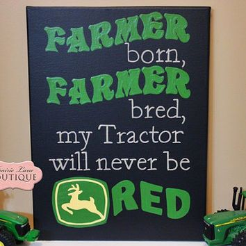Children, 11x14, Canvas, FARMER born, FARMER bred, John Deere, Nursery Art, Decor, Godparents, Grandparents, Farm kids, PrairieBoutique