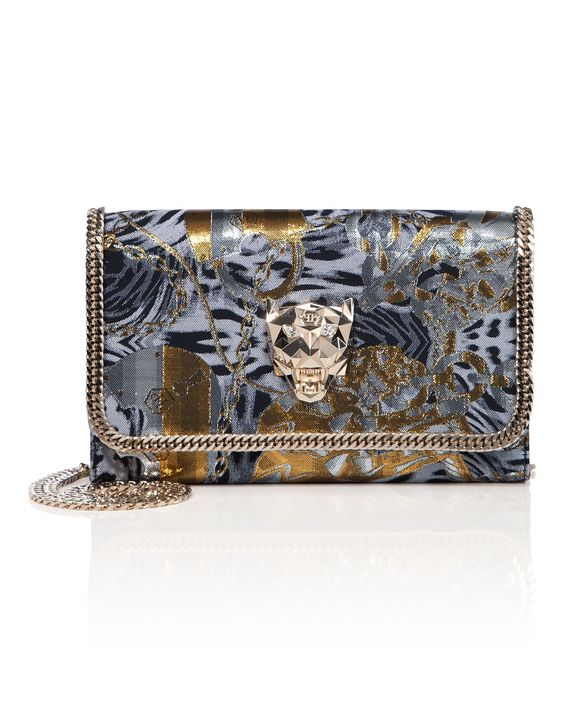 "PHILIPP PLEIN Clutch ""Emily"". #philippplein #bags #lining #clutch #polyester #metallic #hand bags #"