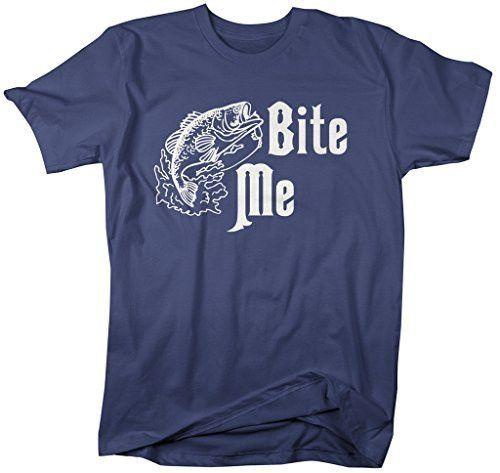 Shirts By Sarah Men's Funny Fishing T-Shirt Bite Me Fish Offensive Shirt