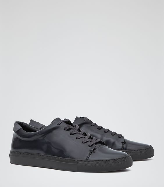 Mens Slate Patent Leather Trainers - Reiss Don