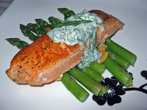 Pan Seared Salmon With Dill Sour Cream Sauce Pan Seared Salmon With Dill Sour Cream Sauce Seared Salmon With Searedsalmonrecipes Pan Seared Salmon With Di Pan Seared Salmon Seared Salmon