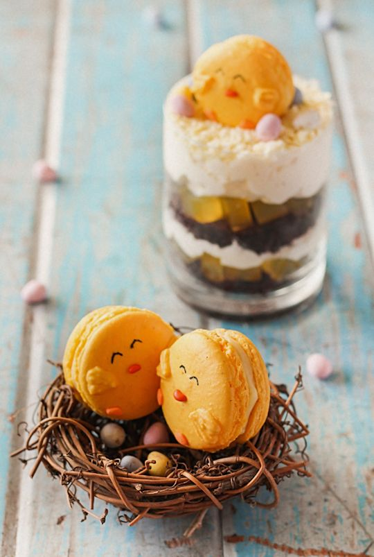 Easter Trifles (with Chick Macarons). | Raspberri Cupcakes http://www.raspberricupcakes.com/2013/03/easter-trifles-with-chick-macarons.html