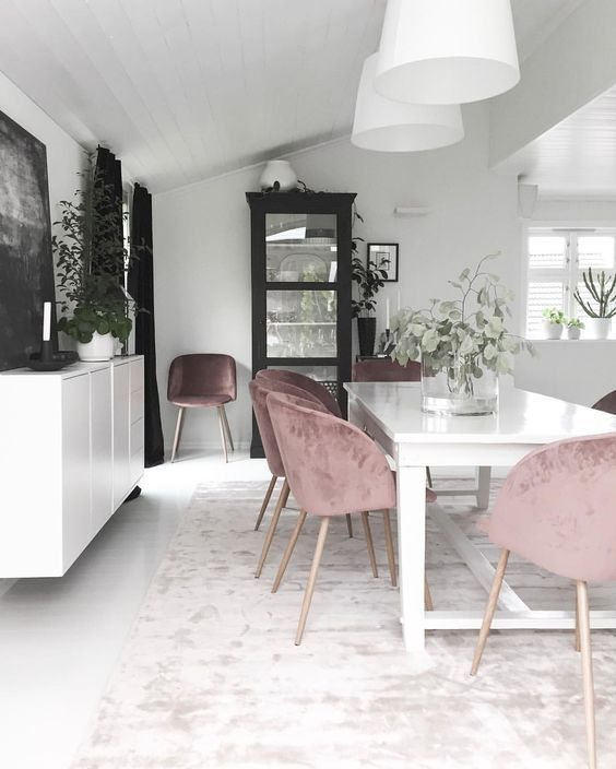 Pink Velvet Dining Chairs | Kitchens | Pinterest | Interiors, Room And  Dining Chairs