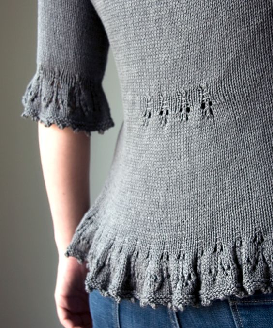 Thornfield cardigan knitting pattern on tricksyknitter - love this little tuck at midback!