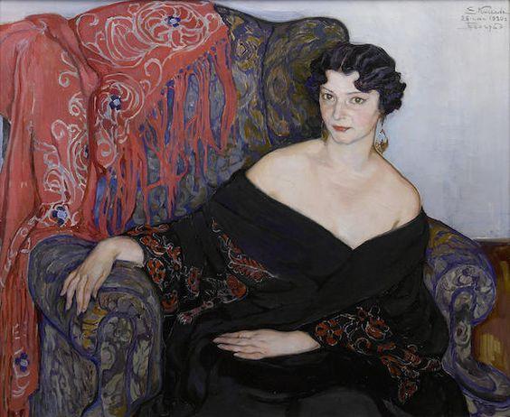 Portrait de femme (1930) by Elena Andreevna Kiseleva (1878-1974), Russian (bonhams)