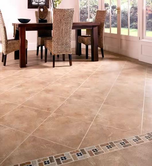 Living Room Floor Tile Design Ideas | Dinning Room With Earthen Tone Tiles  That Are Enhanced