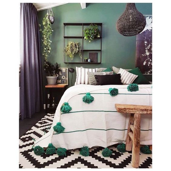 Bedroom in cool colors