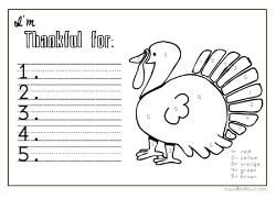 I 39 m thankful coloring sheet placemat thanksgiving fall for I am thankful for turkey coloring page