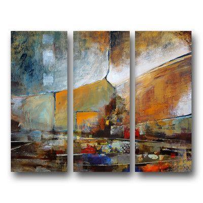 Ready2hangart 'Bueno Exchange XXII' 3 Piece Painting Print on Wrapped Canvas Set